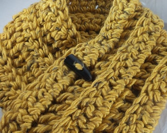 Chunky Crochet Neck Warmer with Button Dark Gold Orange Crochet Cowl with Button