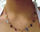 14K Gold GF Concave Cut  geometric Multi Gemstone Pyrite Station Necklace