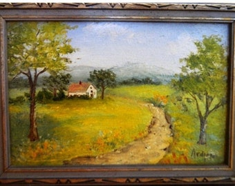 Vintage Miniature Oil Painting, Signed Ardis, Country Farm house, Winding Road, Rolling Hills