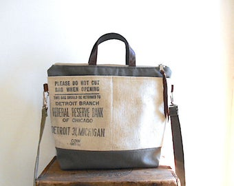 Recycled military & bank canvas, leather crossbody tote bag - Federal Reserve Chicago, Detroit Michigan - eco vintage fabric