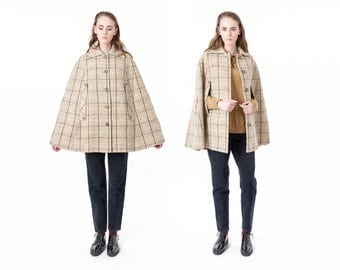 WOOL CAPE virgin wool Pendleton vintage tan camel minimal Jacket brown / better Stay together / women Small