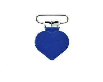 """10 Royal Blue Heart Baby Soother Pacifier Clip 1"""". paci clip. dummy clip. suspender clip. toy holder clip. binky clip. holder clip #293117"""