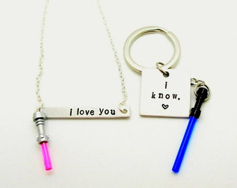 I love you/I know Necklaces & Keychains With Lightsaber® Charms -10 Color Options - Star Wars® Inspired Fan Art Crafted With LEGO® Elements