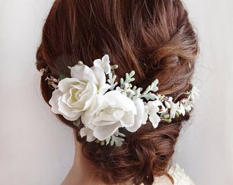 bridal hair piece, bridal hair comb, flower hair comb, white flower crown, bridal hair vine, white flower hair clip, wedding hair comb,