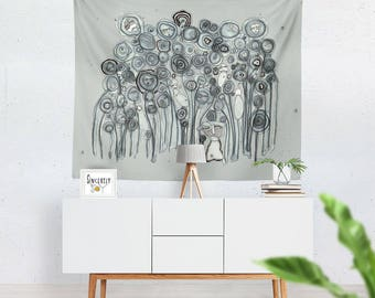 Abstract floral Tapestry wall hanging art colorful blue tapestry large wall art unique artist tapestry art mixed media artist tapestries