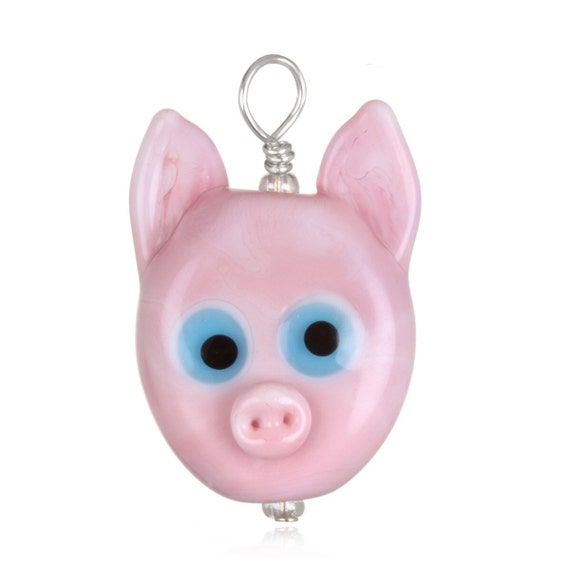 Glass Pig Pendant Necklace on Leather