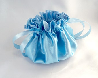 Satin Drawstring Bag, Jewelry Pouch, Baby Blue Ribbon, Handy Travel Bag, Flower Girl Purse, Bridesmaid Gift, Something Blue