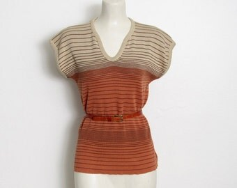 SWEATER SALE Vintage 1970s Boho Sweater / Tan, Orange and Brown Striped Knit Pullover