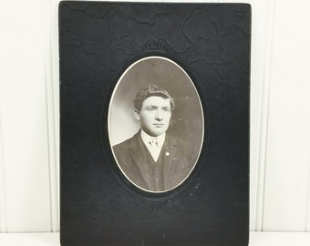 Edwardian Gentleman Photograph, 1900s Good Looking Young Man in White Tie Portrait Card