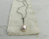 Natural Pearl and Handmade Sterling Necklace--Minimalist Layering