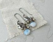 Silverite and Blue Opal Gemstone Dangle Earrings