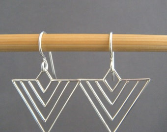 sterling silver chevron wire earrings modern arrow drop small simple geometric jewelry intricate contemporary unique gift her women 1""