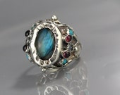 Sterling Silver Statement Ring, Labradorite Ring, Gemstone Ring, Labradorite Queen Ring, Multistone Ring, Statement Jewelry, Gift for Her