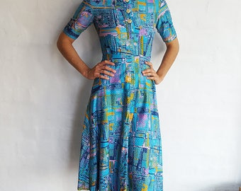 Vintage Blue Print Cotton Dress, XS