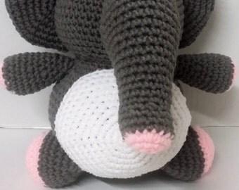 Elephant/Stuffed Elephant/Plush Elephant/Gray Elephant/Grey Elephant/Stuffed Animal/Amigurumi/Plush Animal/Toy/Safe for Children/Toy