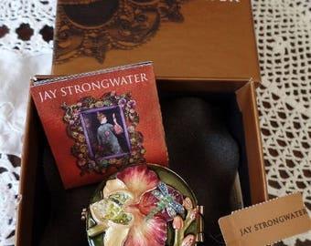 JAY STRONGWATER Mirror Compact Flower Orchid Dragonfly Enamel Swarovski Rhinestone Keepsake Accessory NOS