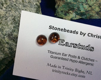 Baltic Amber 8mm Ear Studs Stud Earrings Earings Titanium Posts and Clutches Hypo Allergenic Made in Newfoundland Energy