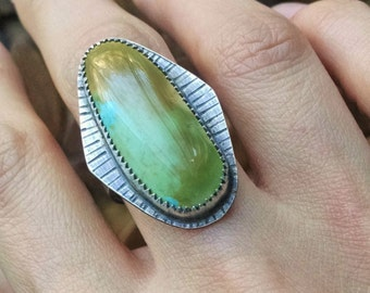 Blue Moon Turquoise Sterling Silver Statement Ring - size 7.75 to 8 - boho jewelry ponderbird