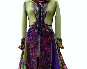 Boho long Sweater COAT, fantasy wearable art refashioned  clothing, up cycled one of a kind Eco-Couture. Size Medium. Ready to ship