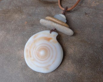 Large shell, beach pebble necklace  - beach jewelry handmade in Australia - spiral necklace - sacred geometry