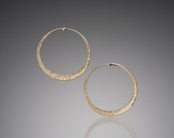 Solid Gold Hoops // Hammered 14 k Large Gold Hoop Earrings