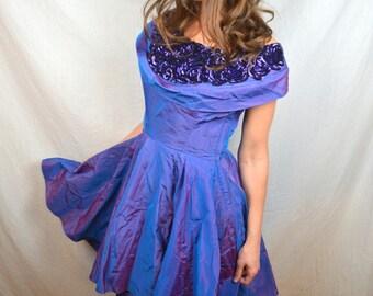 Vintage 50s 1950s EMMA DOMB Purple Iridescent Peplum Sequin Dress Gown
