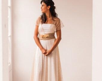 Removable polka dot tulle skirt, light beige tulle skirt, warm beige tulle overskirt, rustic tulle overskirt for wedding dress, detachable