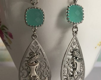 Mermaid Earrings, Aqua Mermaid Earrings, Silver Mermaid Earrings