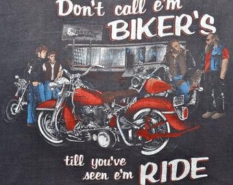 "Vintage 80s 1980s HARLEY DAVIDSON Motorcycles ""Dont Call Em Bikers Till You've Seen Em Ride"" Sleeveless T SHIRT Tank Top M L Boyfriend"