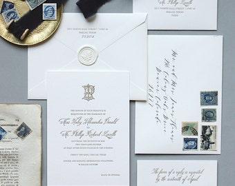 Letterpress Wedding Invitation - Charleston Design- Monogram, Classic, Simple, Formal, Traditional, Gold, Elegant, Custom