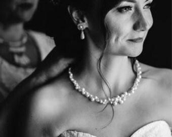 Crochet pearl necklace, bridal pearl necklace, wedding pearl jewelry, crochet bridal jewelry, bohemian bride