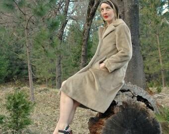 Size Small... 1960s Vintage Faux Fur Coat... Light Brown Fake Fur 60s Coat... Margot Tenenbaum