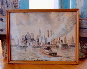 New York City Skyline Midcentury Art Illustration Mixed Media Drawing Pencils & Watercolor Cityscape Hudson River Tugboat View