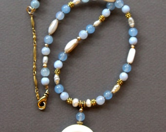 Carved Bone Double Horn Crescent Necklace Set w Blue Agate and Pearl Beads Matching Earrings Ethnic Gemstone Jewelry