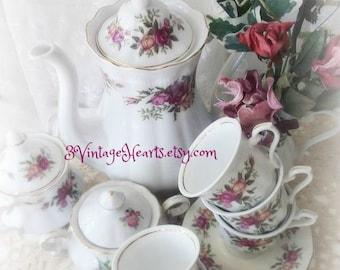 Vintage Porcelain Tea Set Collection. Shabby Chic Cottage Rose Tea set. Weddings. Holidays.