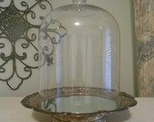 Large Cloche, Silver Plate mirrored Dish, upcycled,silverplate,
