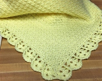 Hand Crocheted Yellow Baby Afghan/Blanket with Shell Border