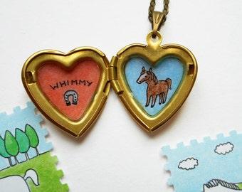 Animal Portrait with Name - Custom Pet Portrait - Pet Memorial Jewelry - Heart Locket Necklace - Any Animal: Hedgehog, Horse, Rabbit, etc.