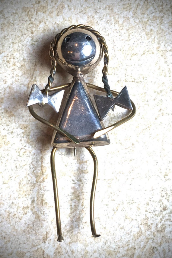 Mexican silver girl pin brooch