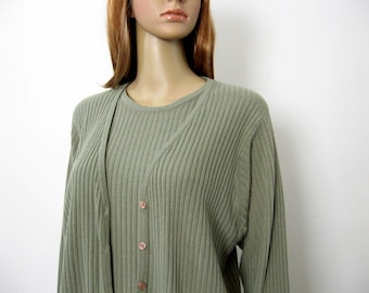Vintage 1980s Cardigan Look Pullover Soft Grayish Sage Green Sweater Top / Medium to Large