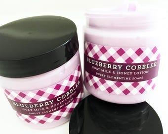 Blueberry Cobbler Lotion, Hand Lotion, Body Lotion, Goat Milk Lotion, Body Cream, Hand Cream, Blueberries, Vanilla, Cinnamon