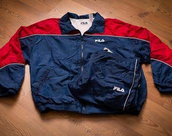 FILA Windbreaker Warm Up Jacket & Pants Unworn Outfit, L, Vintage 90s, Hip Hop Apparel, Red/Blue Tracksuit, Athletic Sportswear Warmups Set