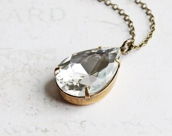 Large Clear Rhinestone Teardrop Pendant Necklace on Antiqued Brass Chain (25mm)