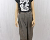 Vintage High Waisted Trousers, Size Small-Medium, Built in Suspenders, Punk, Tumblr Clothing, Rad, 80's-90's Clothing