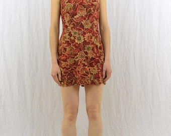 Vintage Floral Mini Dress, Size XS, Petite, Boho, Hipster, Grunge, 90's Clothing, Shift Dress, Tumblr Clothes