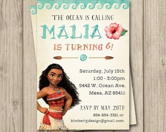 MOANA BIRTHDAY INVITATION, Moana Invitation, Moana Birthday Party Invitation, Moana Party, Digital Invitation 5x7