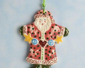 Santa Christmas Ornament, Ceramic Santa, Holiday Decoration, Christmas Gift, Christmas Tree Santa Ornament, Secret Santa Gift