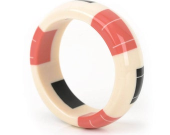 Dome Bangle in Ivory White, Coral pink and Jet Black