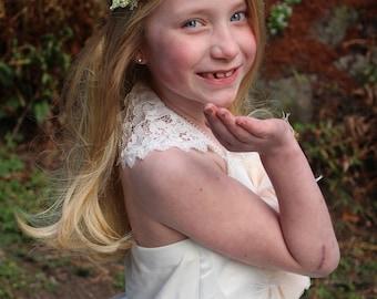 Blush flower headband-ready to ship -flower girl- blush headband -newborn headband-, pink tieback,flower girl, flower crown
