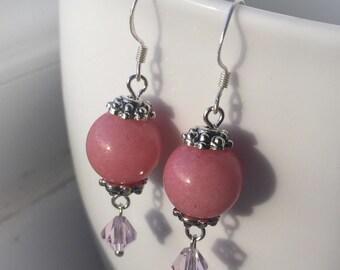 Pink Quartz and Swarovski Dangle Earrings